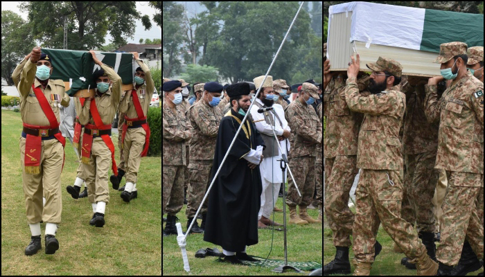 The funeral prayers of thefour soldiers who embraced martyrdom — after a vehicle of the militarys Quick Reaction Force (QRF) fell into a ravine in Laswa near Neelum Valley — being offered in Muzaffarabad, on July 26, 2021. — ISPR