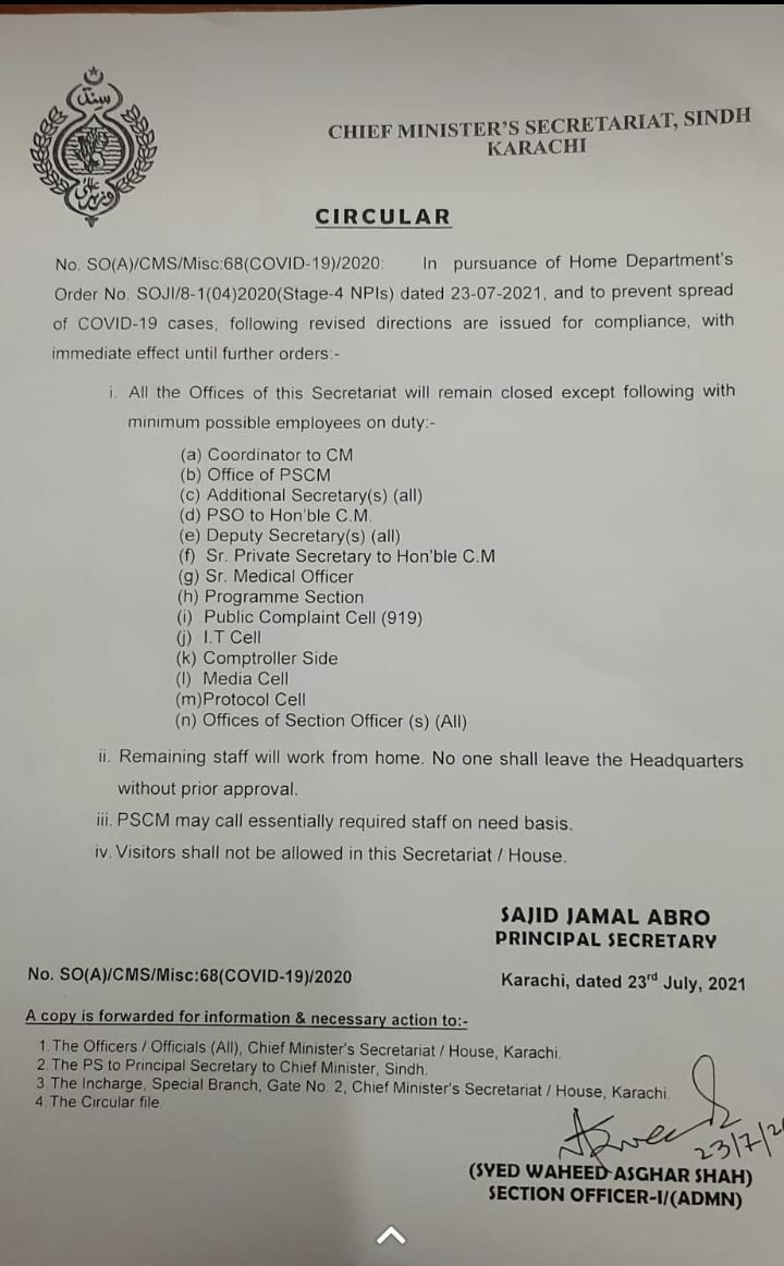 CM House Sindh offices to close as coronavirus cases rise