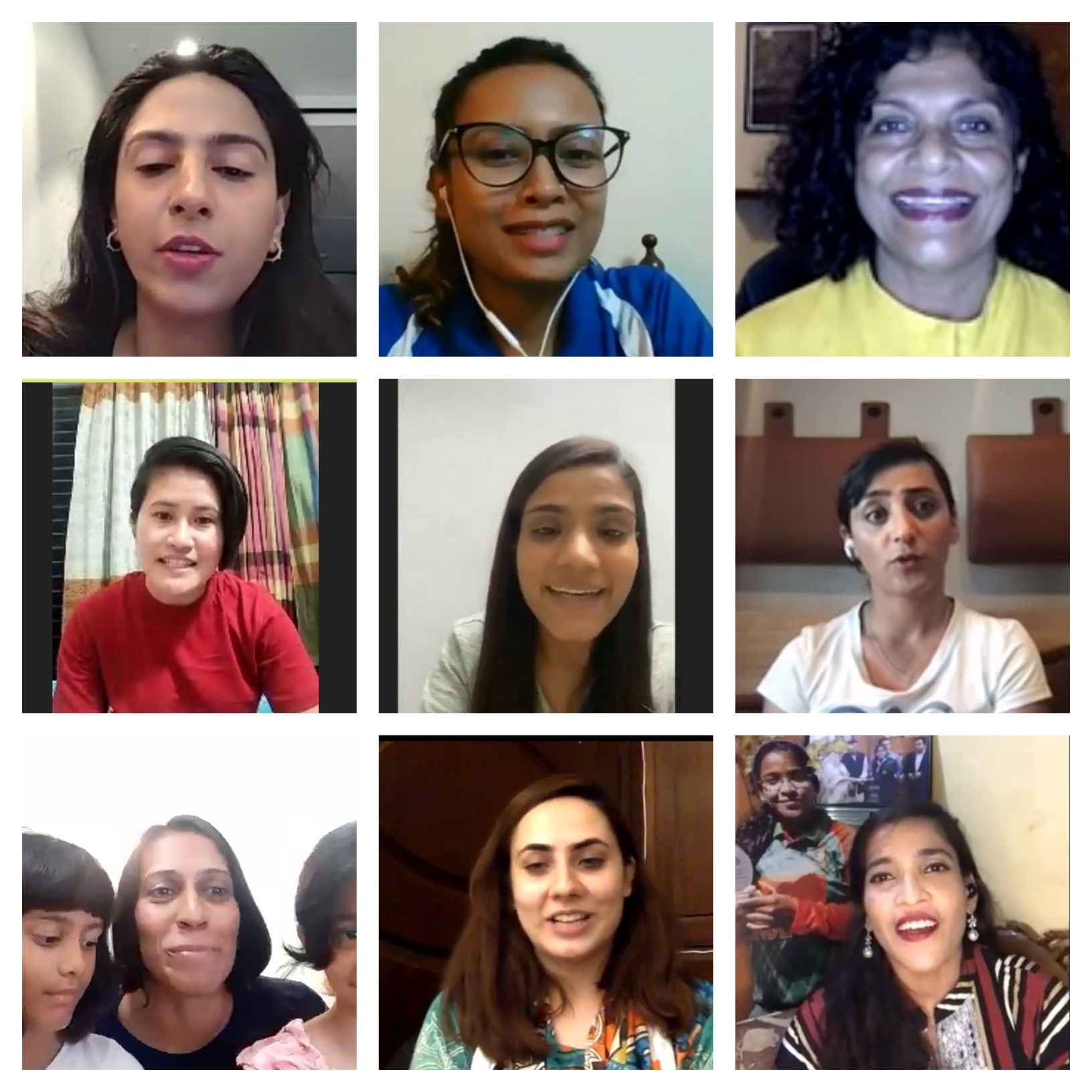 Image collage showing pictures of different athletes from South Asia, including [top left]Ayesha Mansukhani,Ashreen Mridha,Caryll Tozer,Champa Chakma,Gulshan Naaz, Khalida Popal, Nisha Millet and her twin daughters, Noorena Shams, andRuhmana Ahmed. Photo: Screengrab via Zoom captured by the author.