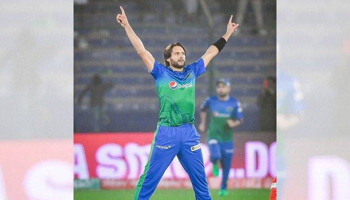 Former Pakistan captain Shahid Afridi celebrates after dismissing a batsman during the Pakistan Super League. Photo: File