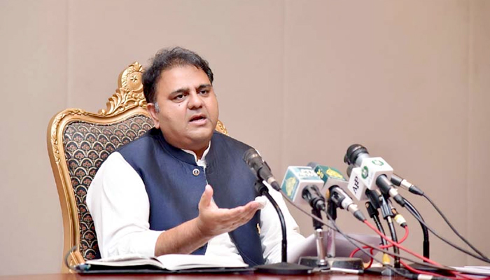 Minister for Information and Broadcasting Fawad Chaudhry addressing a post-cabinet press briefing in Islamabad, on July 27, 2021. — RadioPakistan