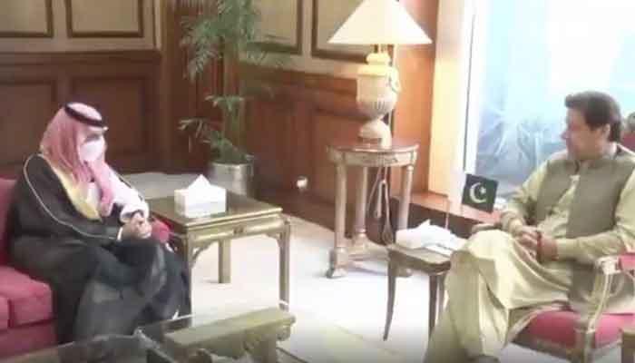 Prime Minister Imran Khan in a meeting with Kingdom of Saudi Arabias Foreign Minister Prince Faisal Bin Farhan Al Saud, on July 27, 2021. — PM Office