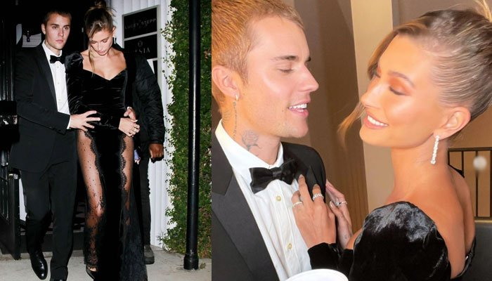 Hailey Bieber shares loved-up snaps with Justin in stunning black gown
