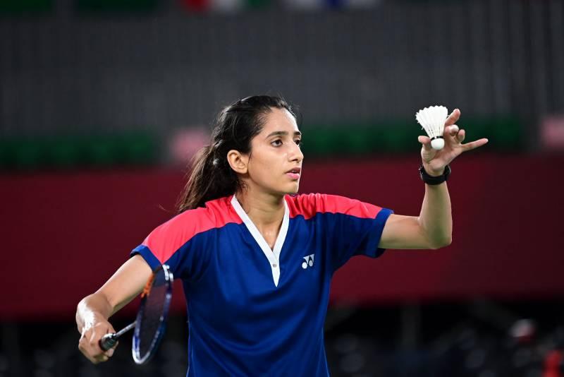 Mahoor Shahzad before a badminton serve. — AFP