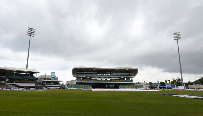 Rain delays the start of the 1st T20I between West Indies and Pakistan at Kensington Oval, Bridgetown, Barbados, on July 28, 2021. — AFP