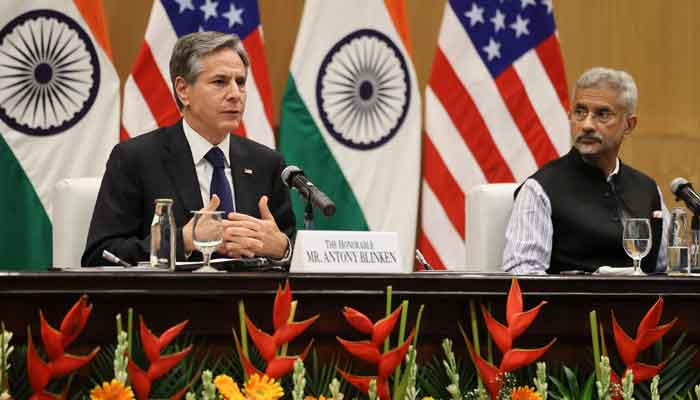 Indias Minister of External Affairs Subrahmanyam Jaishankar (R) and US Secretary of State Antony Blinken hold a joint news conference at Jawaharlal Nehru Bhawan (JNB) in New Delhi on July 28, 2021. — Photo by Jonathan Ernst/Pool/AFP