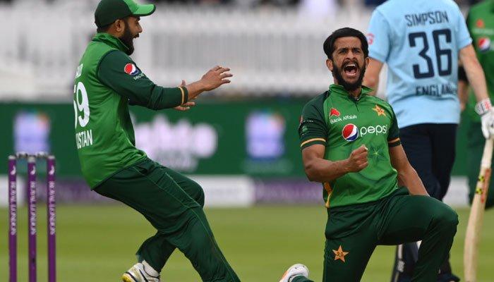 Hasan Ali celebrates after dismissing a batsman. Photo: Files