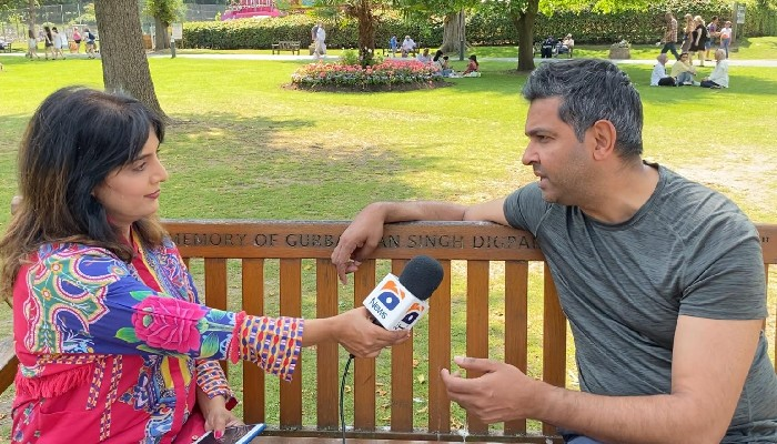 Pakistan Cricket Board (PCB) Chief Executive Officer Wasim Khan is giving an interview to Geo News correspondent inBirmingham.