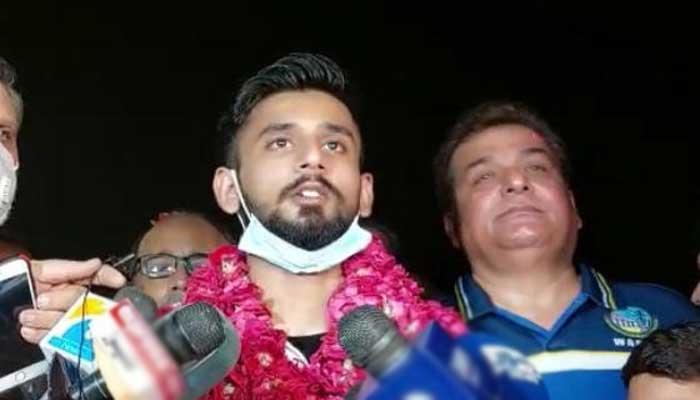 Star athlete Talha Talib arrives at Lahores Allama Iqbal Airport.
