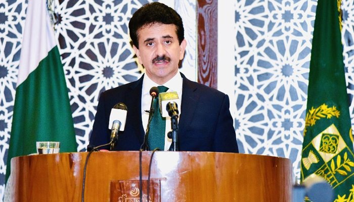 Foreign Office (FO) spokesperson Zahid Hafeez Chaudhri addressing a press conference. Photo: Files