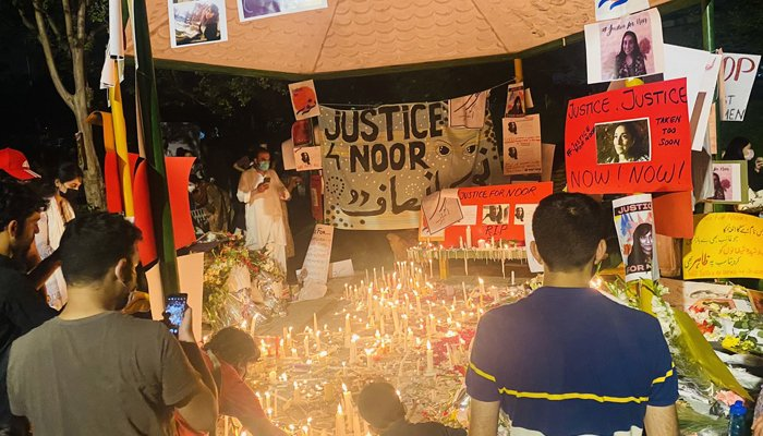A candle light vigil held in the federal capital for Noor Mukadam following her murder. Photo: Twitter