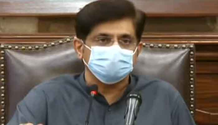 Sindh Chief Minister Murad Ali Shah addressing a press conference to respond to concerns and criticism regarding the decision to impose a nine-day lockdown in the province, on July 30, 2021. — Geo News