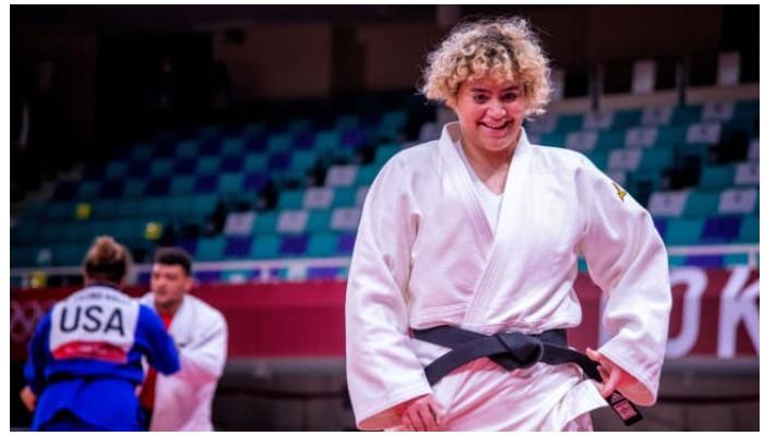 Tahani al-Qahtani after a fight at the Tokyo Olympics — International Judo Federation