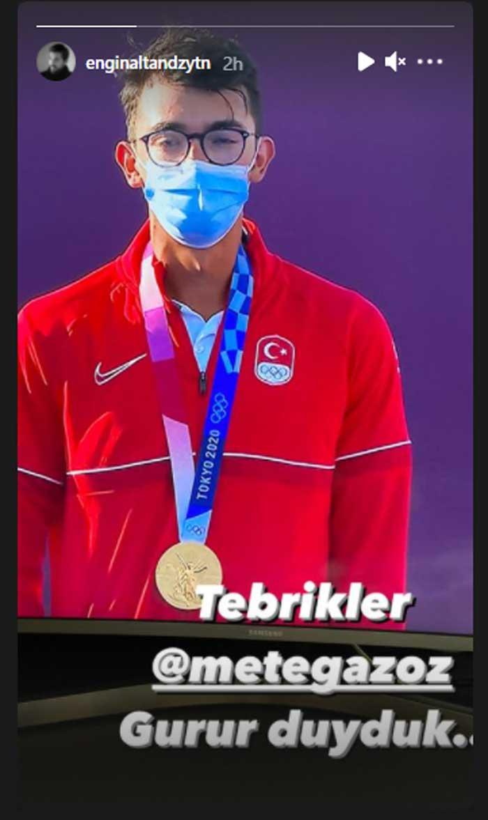 Engin Altan Duzyatan aka Ertugrul congratulates Mete Gazoz on winning Olympic gold