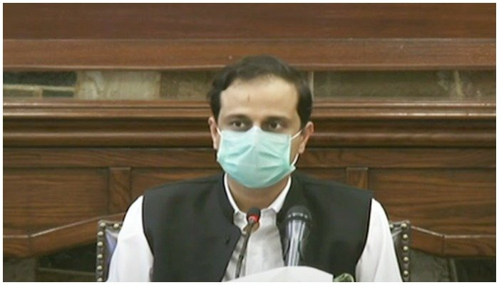Sindh governments spokesperson Barrister Murtaza Wahab addresses a press conference. Screengrab from todays press conference
