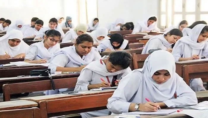 Students seen taking an exam in a classroom Photo: File.