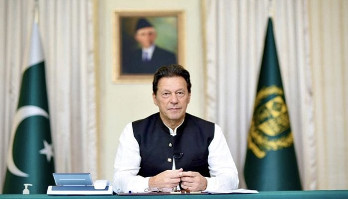 Prime Minister Imran Khan answering questions during live telephone calls from the people of Pakistan in Islamabad, on August 1, 2021. — Twitter/@PTIofficial