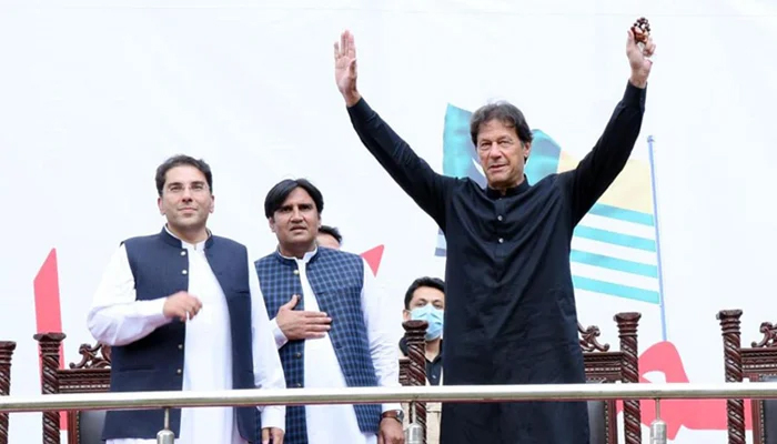 Prime Minister Imran Khan gestures during a rally in Azad Jammu and Kashmirs Tarar Khal, on July 23, 2021. — PID/File