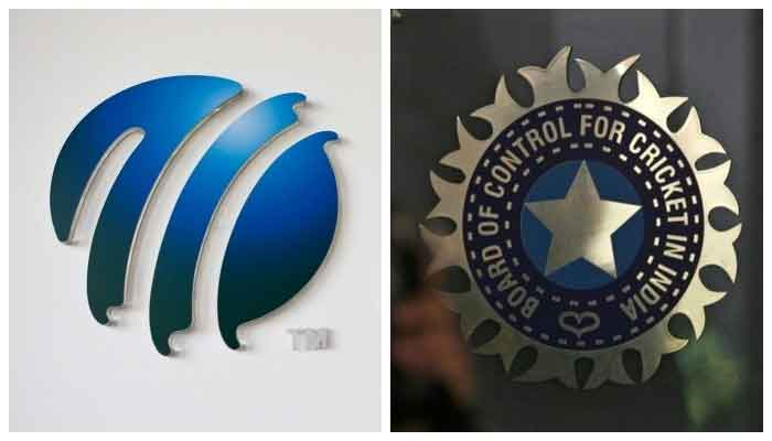 The International Cricket Council (ICC) logo at the ICC headquarters in Dubai, October 31, 2010 (L) and a policeman walks past a logo of the Board of Control for Cricket in India (BCCI) at BCCI headquarters in Mumbai April 26, 2010. — Reuters/File