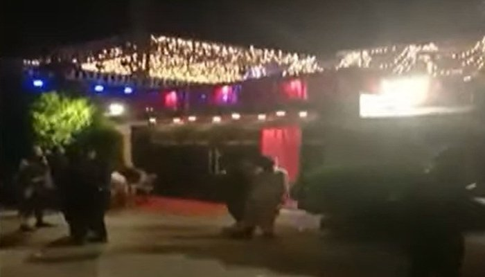 PTI MNA Aslam Khans house decorated for a valima function in Karachi. Photo: Geo News screengrab