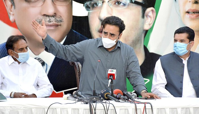 PPP Chairman Bilawal Bhutto Zardari addressing a press conference at Bilawal House in Islamabad, on July 31, 2021. — INP/File