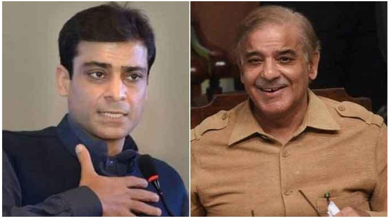 Punjab Assembly opposition leader Hamza Shahbaz(L) and National Assembly opposition leader, PML-N President Shehbaz Sharif(R)
