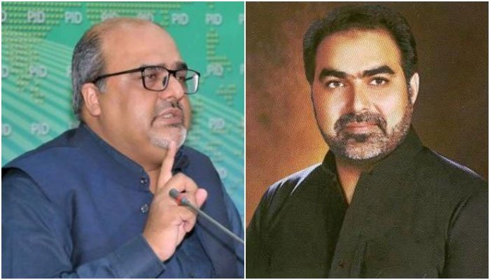 Adviser to the Prime Minister on Interior and Accountability Mirza Shahzad Akbar (L) and PTI MPA in Punjab Nazir Chohan. Combo courtesy photos from PID/Punjab Assembly