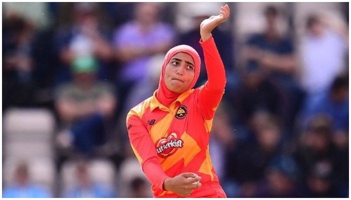 Abtaha Maqsood, 22, plays for the Scottish womens national cricket team. Photo: Twitter/The Hundred