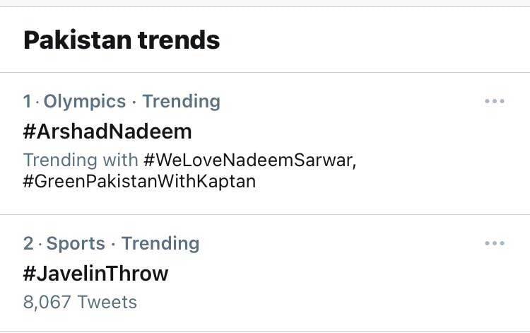 Twitter trends in Pakistan.