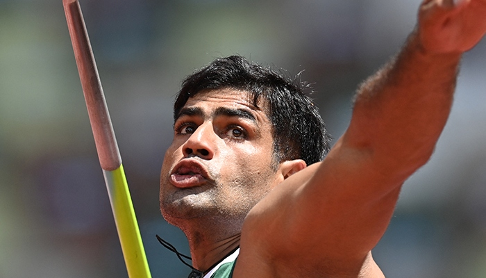 Pakistani athlete Arshad Nadeem pictured seconds before his throw. Photo: File