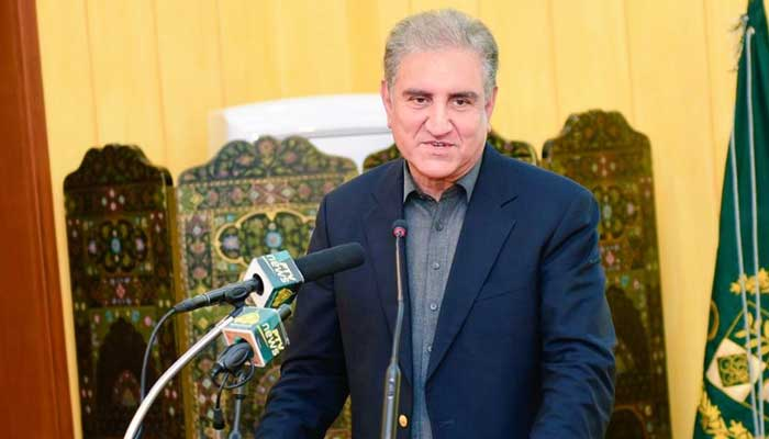 Foreign Minister Shah Mahmood Qureshi speaks to the media. Photo: SMQs Twitter account