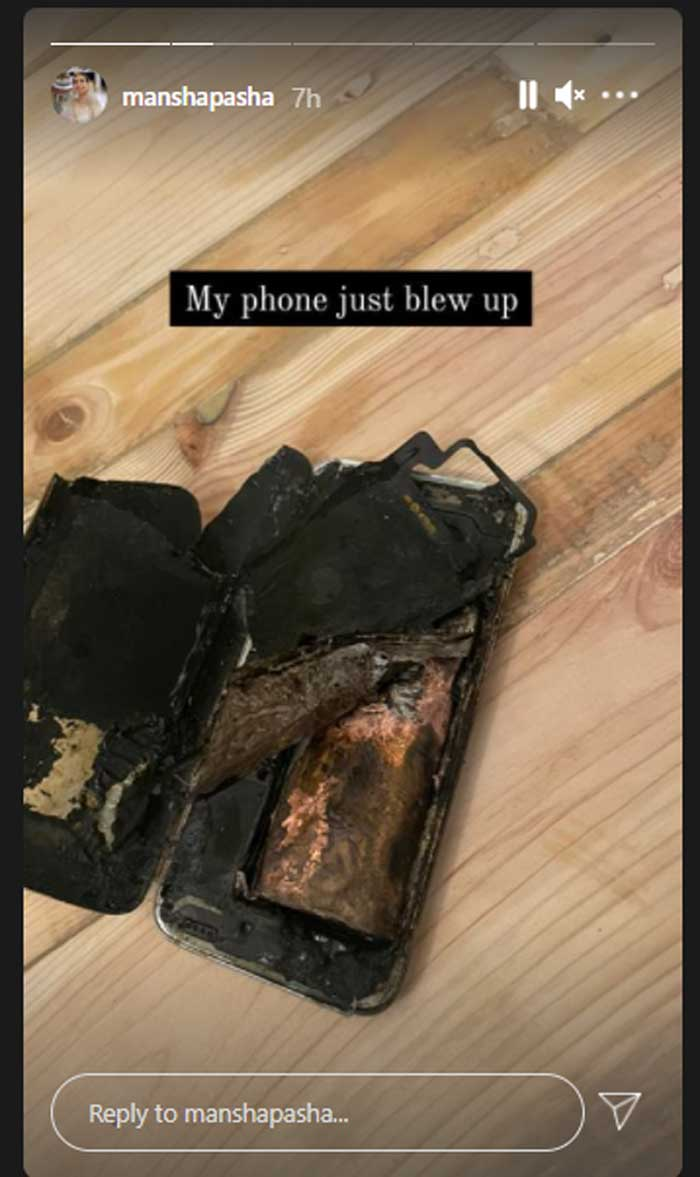 Mansha Pasha's mobile phone blows up while on charge