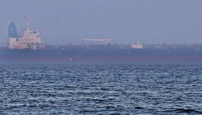 The Israeli-linked Japanese-owned tanker MT Mercer Street is seen off the port of the Gulf Emirate of Fujairah in the United Arab Emirates, Aug. 3, 2021. (AFP Photo)