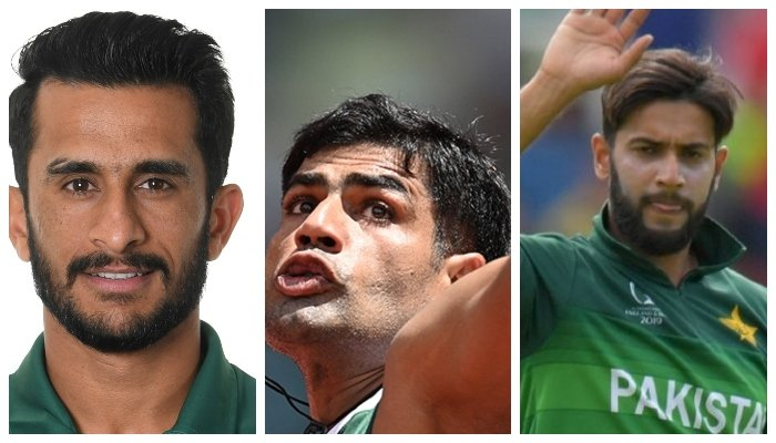 Pakistani fast bowler Hassan Ali (L), Olympian Arshad Nadeem (Center) and cricketer Imad Wasim (R). Photo: File