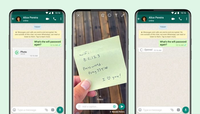 The new View Once WhatsApp feature. —WhatsApp