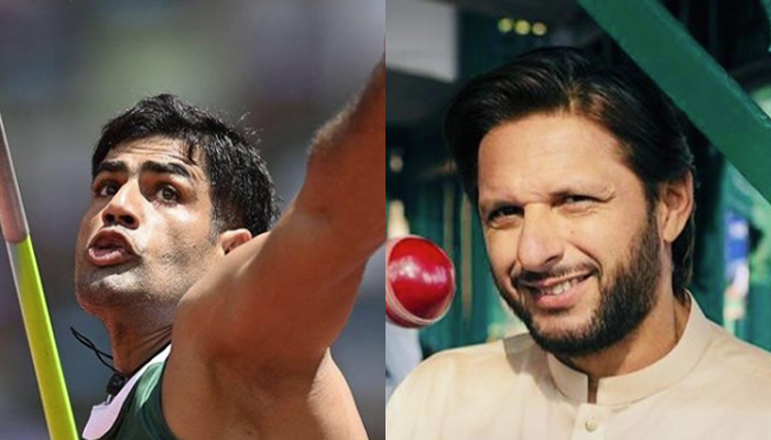 Arshad Nadeem (left) Former Pakistan cricket team skipper Shahid Afridi (right). — Instagram