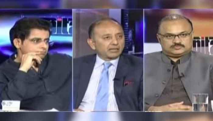 (L-R): Senior analyst Irshad Bhatti, PML-Ns Musadiq Malik and PTIs Amir Dogar, on Geo News programme Capital Talk, on August 4, 2021. — Geo News