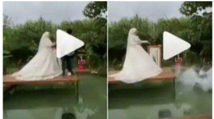 Bride pulls off prank during wedding photoshoot, pushes groom, photographer into pool