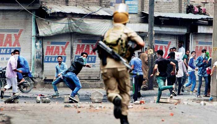 Indian forces resort of tear gas shelling to suppress protests in Indian occupied Kashmir. File photo
