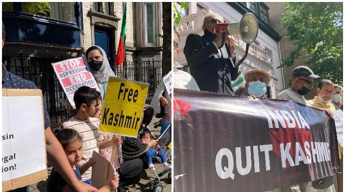 Protesters stage demonstrations outside Indian embassy in Brussels to mark August 5