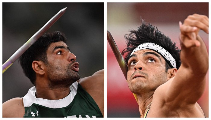 Pakistans Arshad Nadeem (left) and Indias Neeraj Chopra (right) competing in the men´s javelin throw final during the Tokyo 2020 Olympic Games at the Olympic Stadium in Tokyo on August 7, 2021. — AFP/File