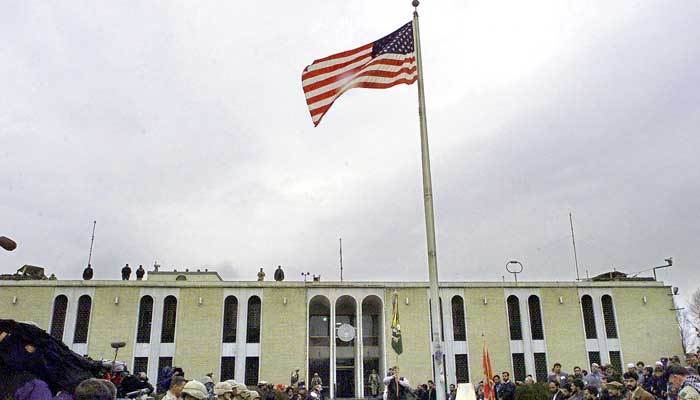 In this file photo the American flag flies on a flag pole after it was raised at the opening ceremony of the US embassy in the Afghan capital of Kabul on December 17, 2001.-AFP