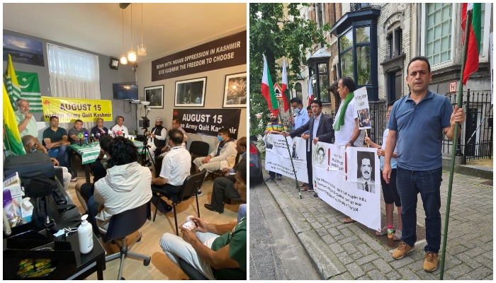 Image showing the seminar Independent India and Occupied Kashmir (L) while the second image shows the protest by JKLF in Brussels. Photos: Author.