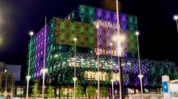 Birmingham Library lights up in green and white to mark Pakistan's Independence Day