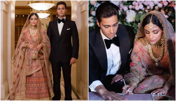 The newly-wedded couple Junaid Safdar andAyesha Saif can be seen in the photos. — Facebook