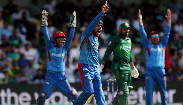 Afghanistans Rashid Khan celebrates the wicket of Pakistans Haris Sohail. — Reuters/File