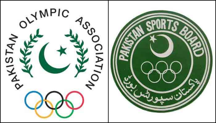 The logos of the Pakistan Olympic Association (POA) (left) andPakistan Sports Board (PSB). — Facebook/File