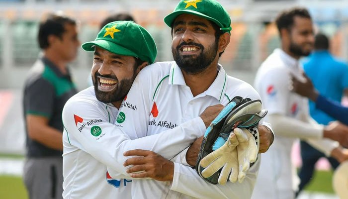 Muhammad Rizwan and Babar Azam are all smiles. West Indies vs Pakistan, 2nd Test, Kingston, 5th day. Photo: AFP
