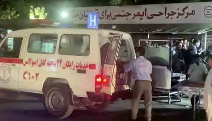 A screen grab shows an emergency vehicle as people arrive at a hospital after an attack at Kabul airport, in Kabul, Afghanistan August 26, 2021. -REUTERS