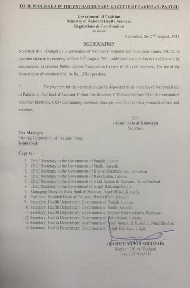 Notification issued by the Ministry of National Health Services